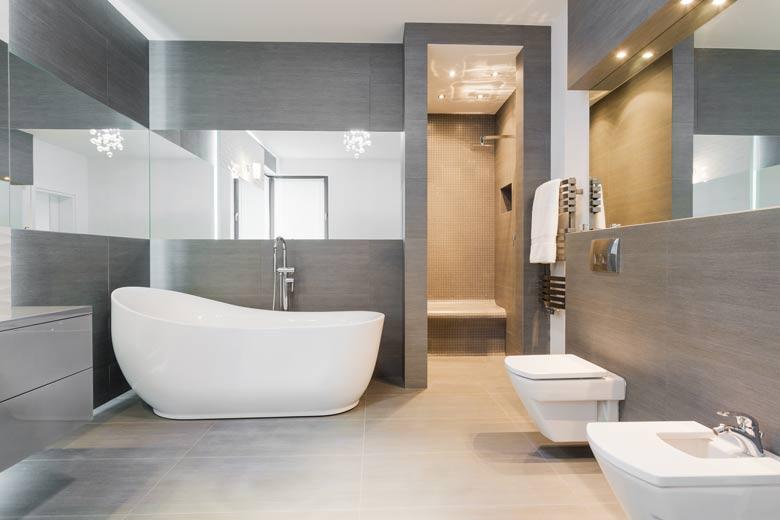 un wc dans une salle de bain tout en longueur - Toilettes Dans Salle De Bain